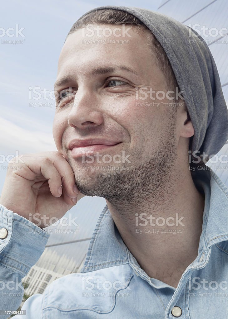 cheerful young man Looking Away royalty-free stock photo