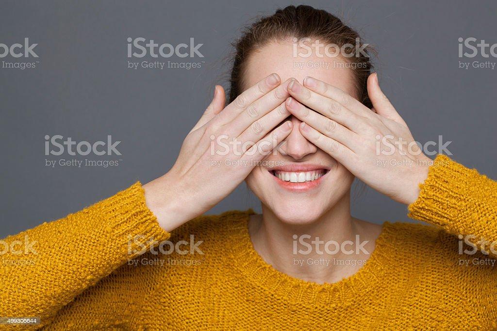 cheerful young woman enjoying smiling expressing natural happiness stock photo