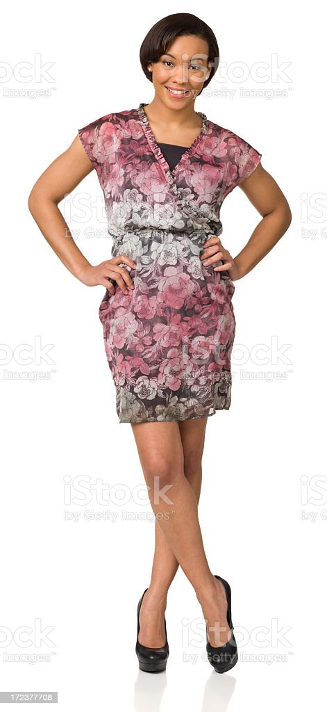 Cheerful Young Woman Standing Full Length Portrait royalty-free stock photo