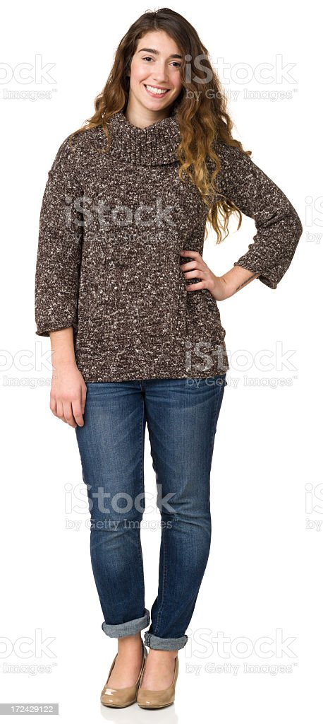 Cheerful Young Woman Standing Portrait royalty-free stock photo