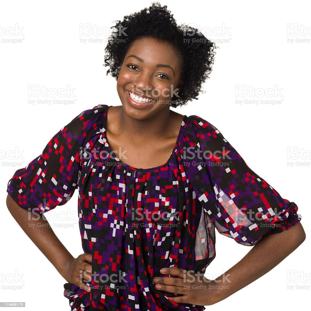 Cheerful Young Woman With Hands On Hips royalty-free stock photo