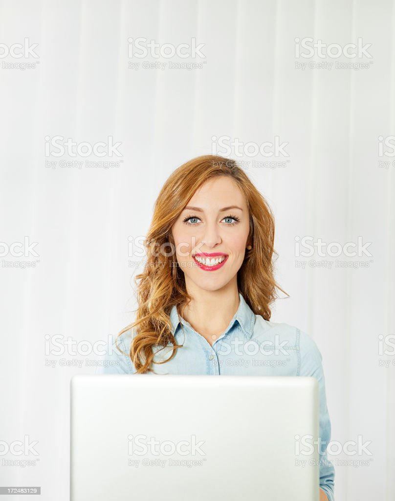 Cheerful Young Woman With Laptop royalty-free stock photo