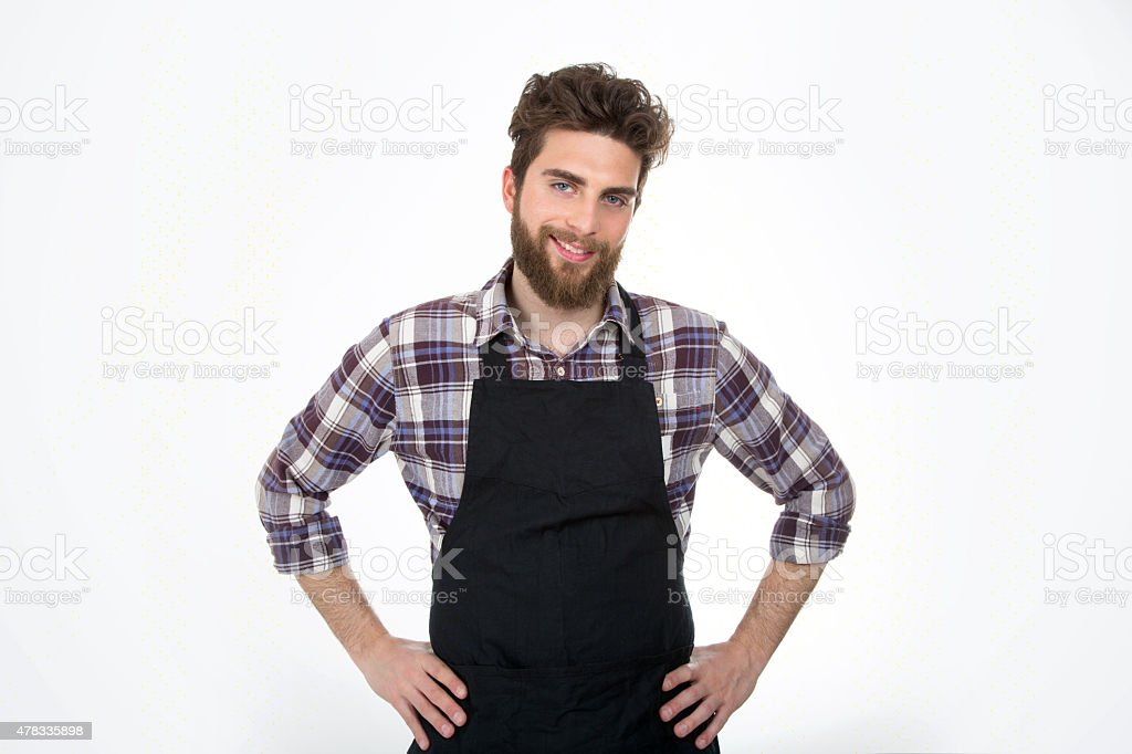 cheerful young worker smiling stock photo