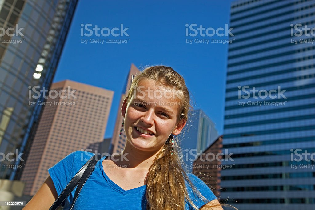 Cheerful Youth in City stock photo