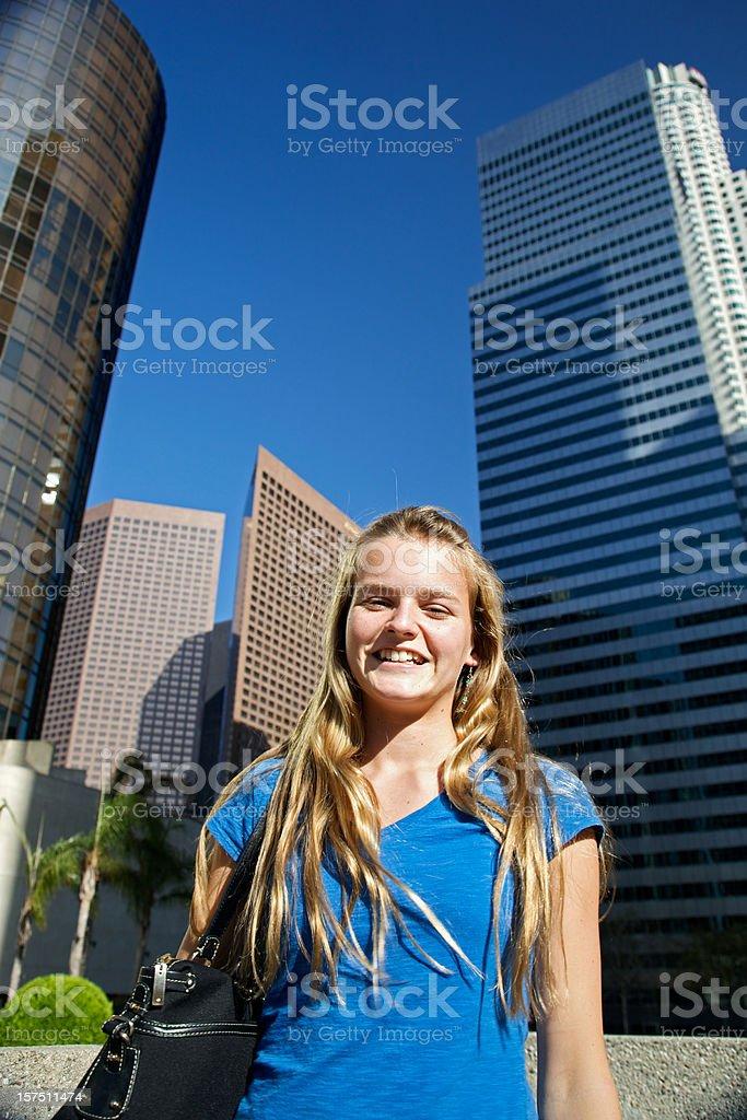 Cheerful Youth in Urban Setting stock photo