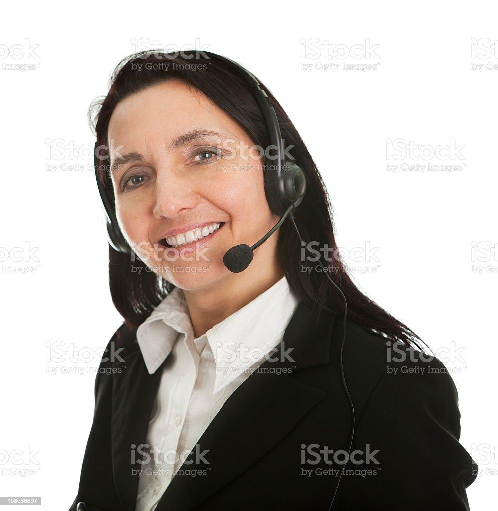 Cheerfull call center operator royalty-free stock photo