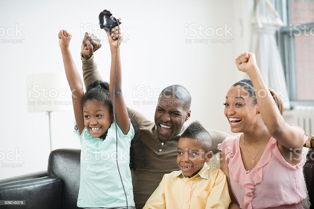 Cheering After Winning a Game stock photo