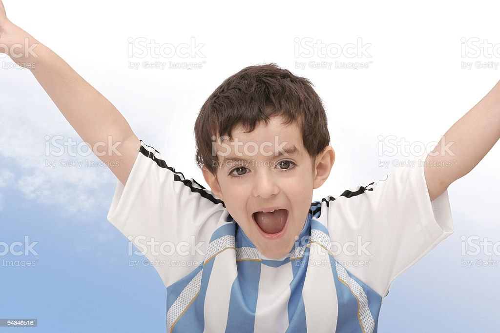 Cheering boy royalty-free stock photo