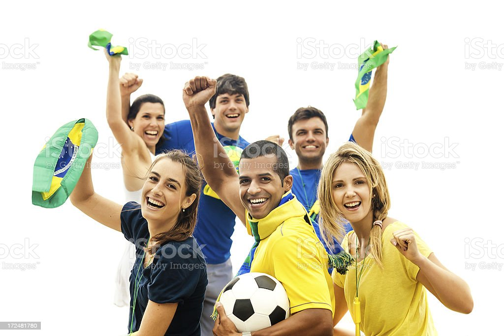 Cheering Brazilians royalty-free stock photo