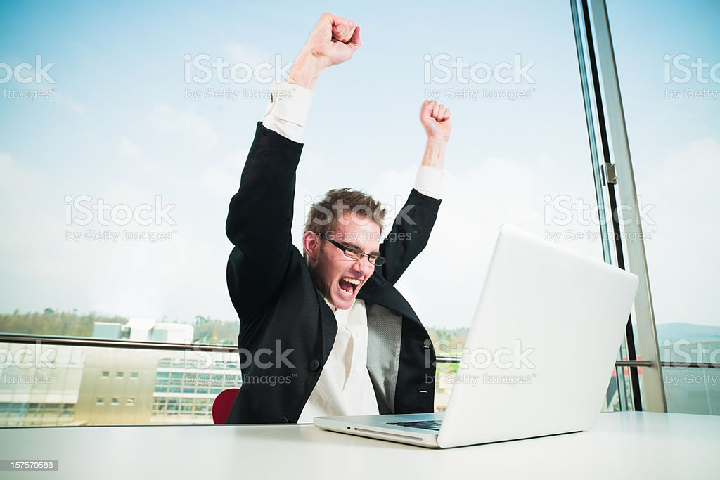 Cheering Businessman royalty-free stock photo