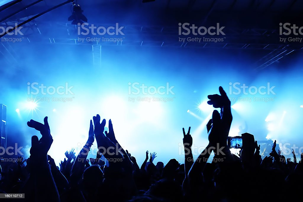 Cheering crowd at concert royalty-free stock photo