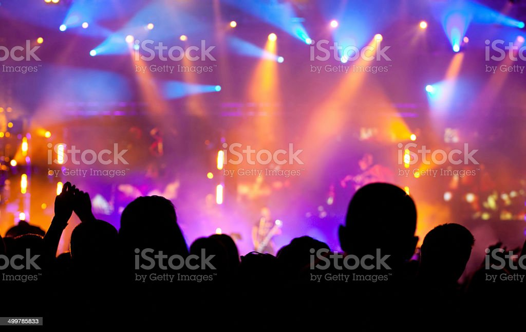 Cheering crowd at concert stock photo