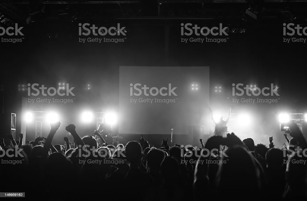 Cheering crowd raising hands in the air in front of a stage royalty-free stock photo