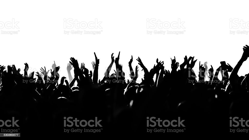 cheering crowd silhouette stock photo