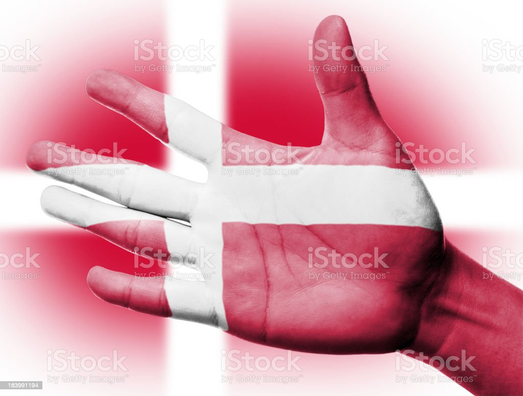 Cheering fan with Painting national Denmark flag royalty-free stock photo