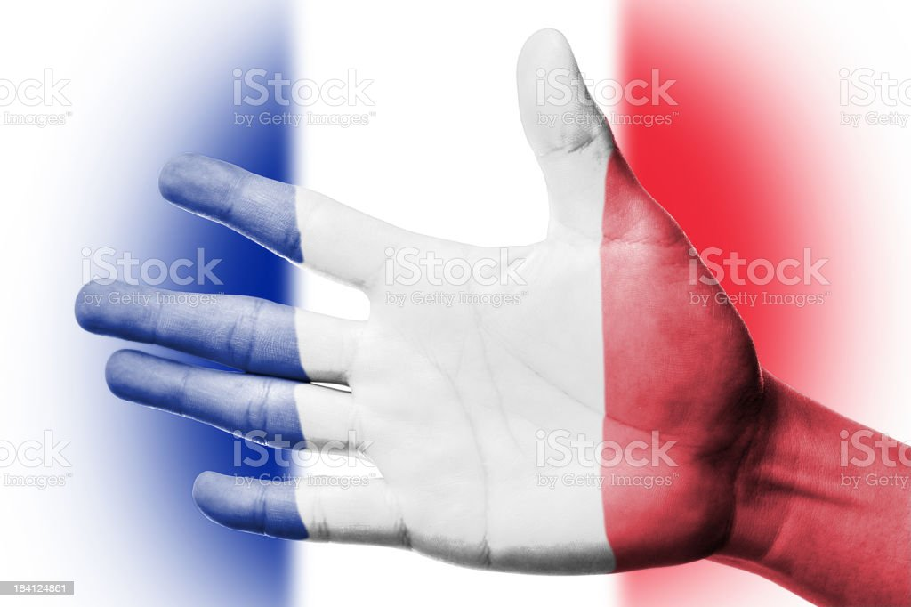 Cheering fan with Painting national France flag royalty-free stock photo