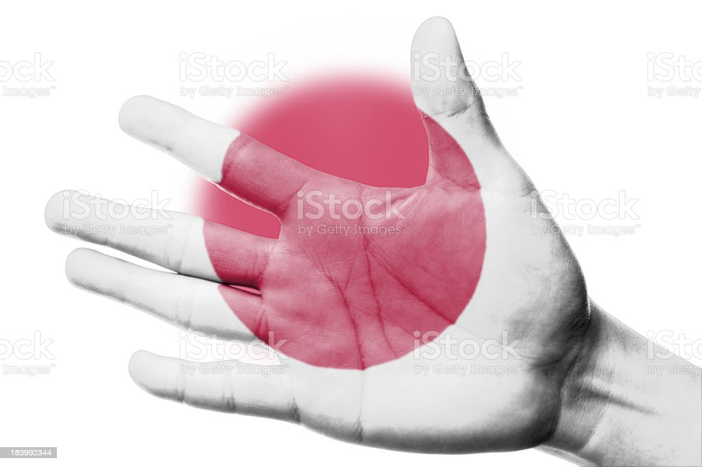 Cheering fan with Painting national Japan flag royalty-free stock photo