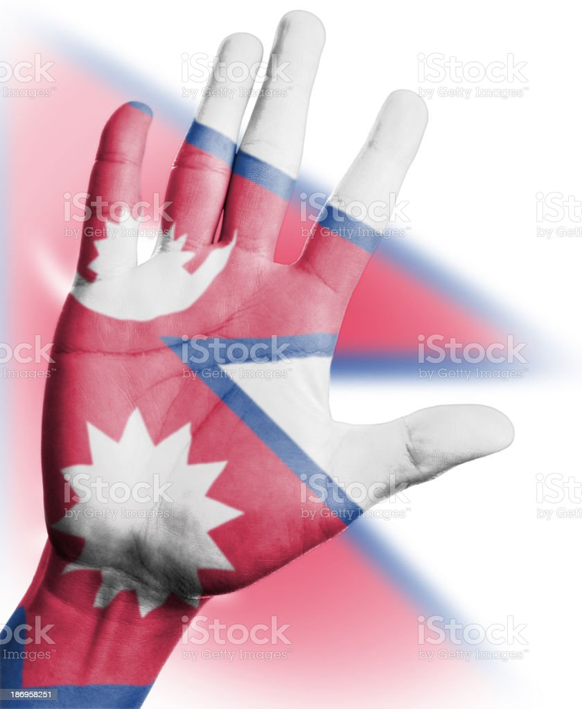 Cheering fan with Painting national Nepal  flag royalty-free stock photo