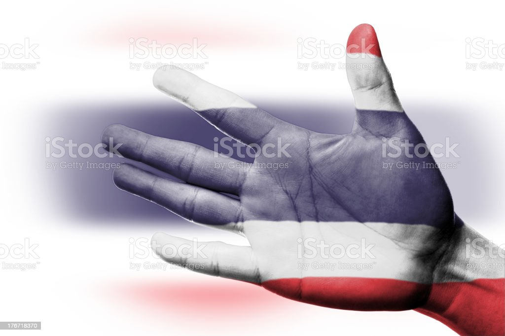 Cheering fan with Painting Thailand national flag royalty-free stock photo