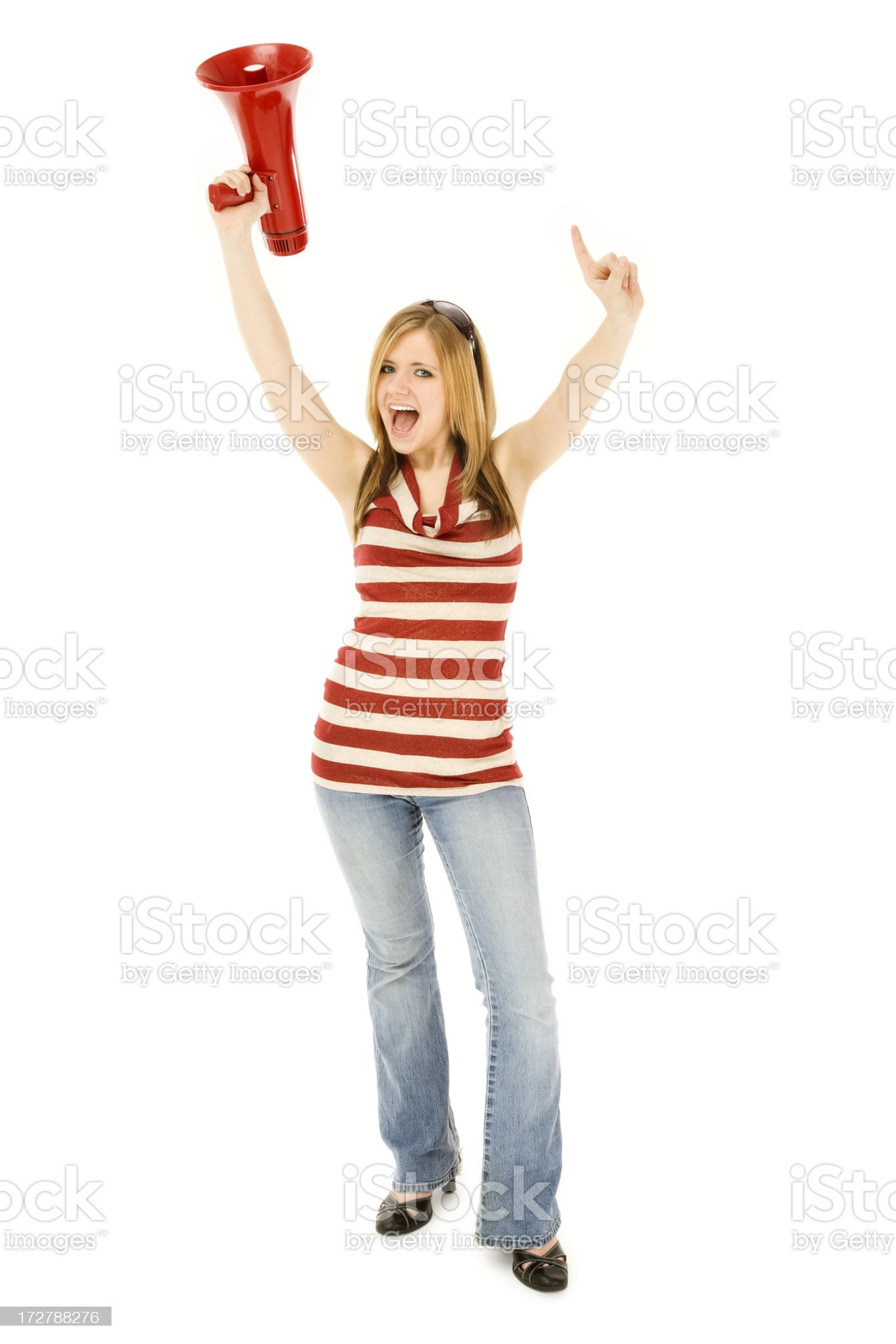 Cheering for Number One royalty-free stock photo