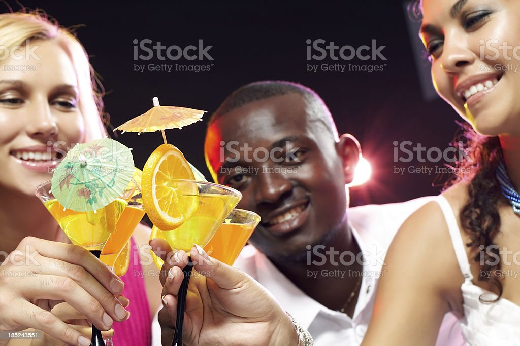Cheering friends royalty-free stock photo