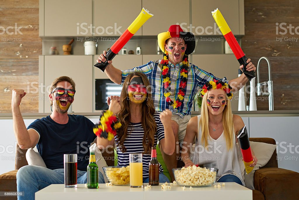 cheering german soccer fans stock photo