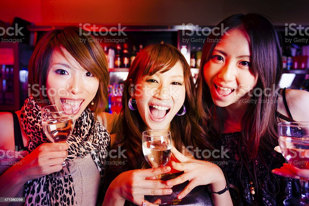 Cheering Girls at the Nightclub Bar royalty-free stock photo