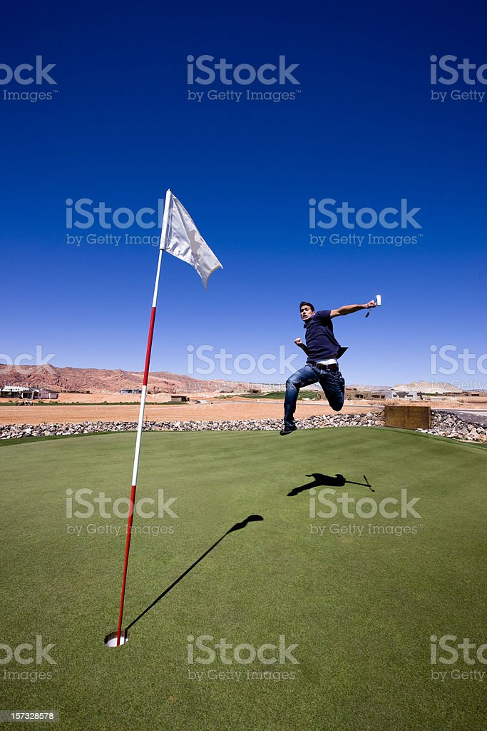 Cheering Golf Player royalty-free stock photo