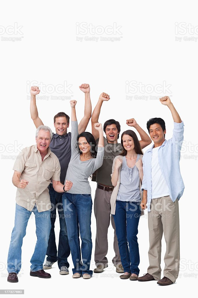 Cheering group of people stock photo