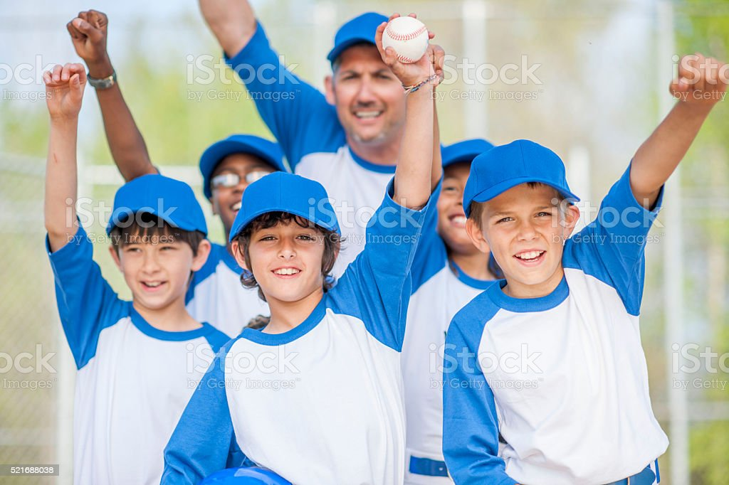 Cheering Happily After the Game stock photo