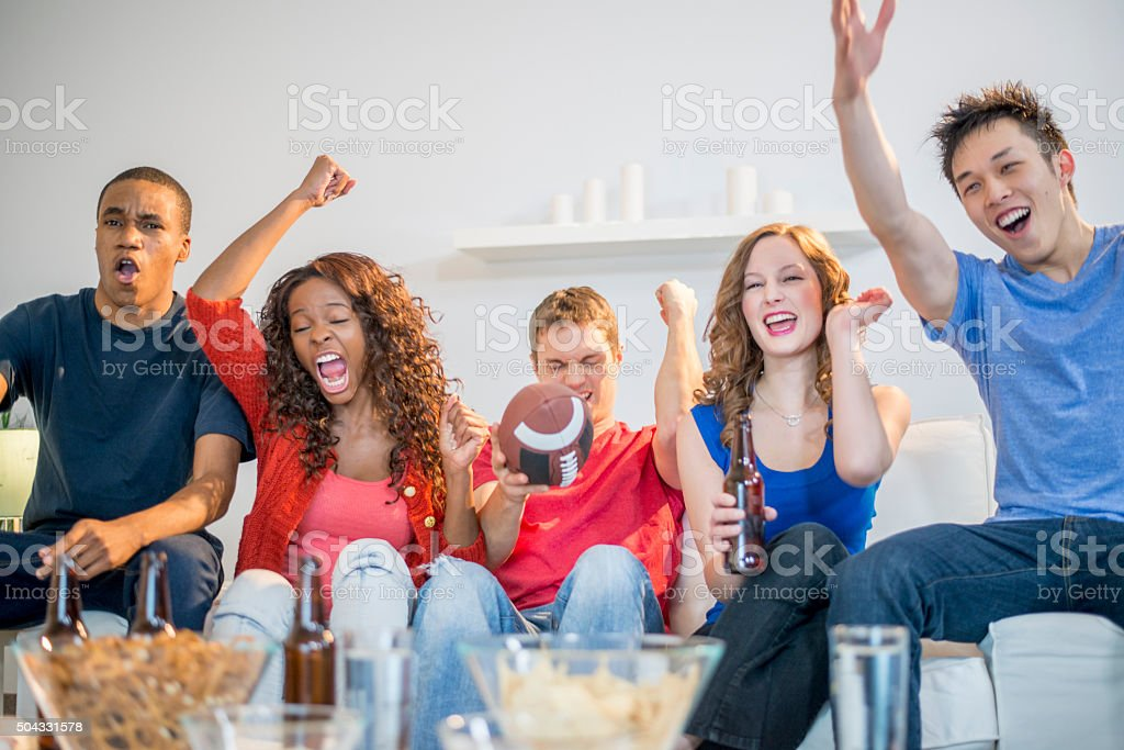 Cheering Loudly During the Game stock photo