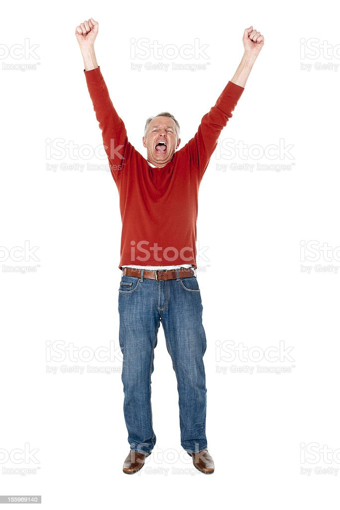 Cheering Man with Arms Up Isolated on White royalty-free stock photo