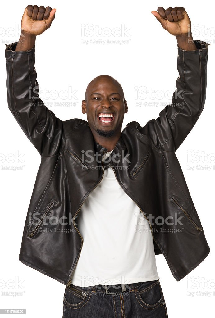 Cheering Man With Arms Up royalty-free stock photo