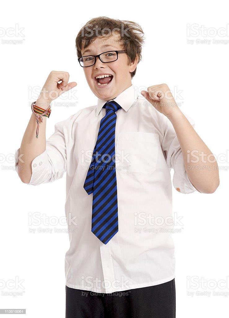 Cheering schoolboy stock photo