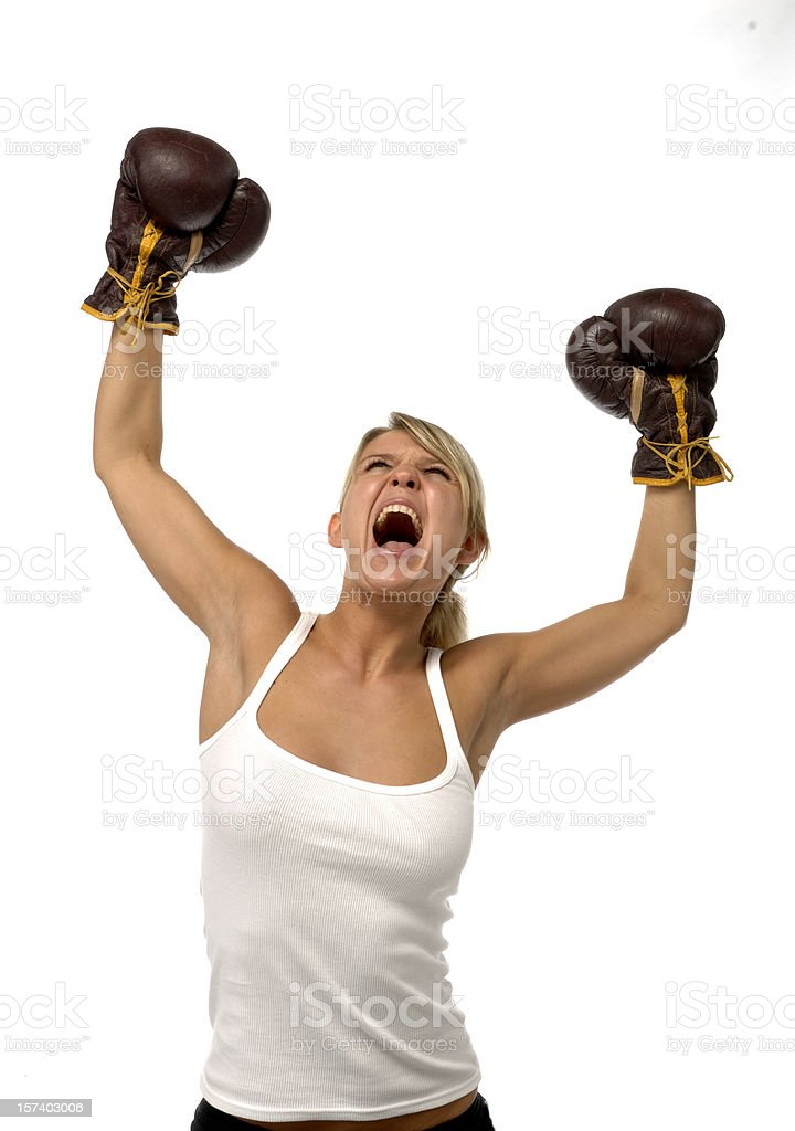 cheering screaming woman with boxing gloves royalty-free stock photo