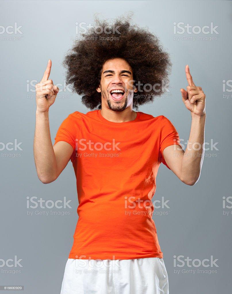 cheering soccer  fan stock photo
