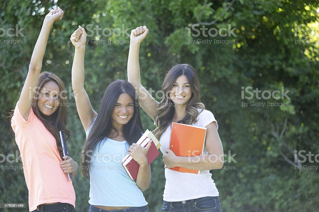 cheering students royalty-free stock photo