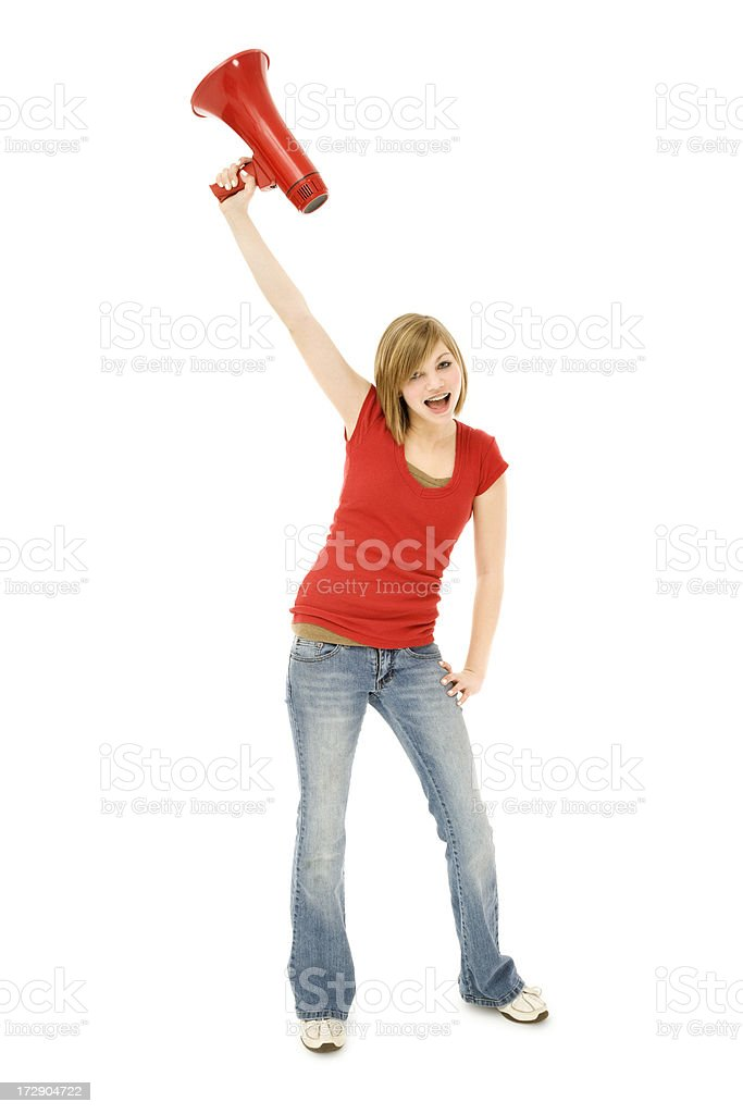 Cheering Teen Girl in Red T-shirt royalty-free stock photo