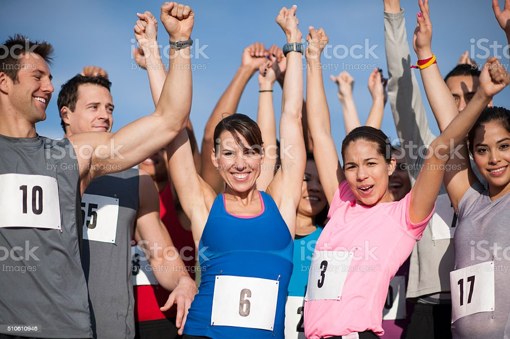 Cheering Together After a Race stock photo