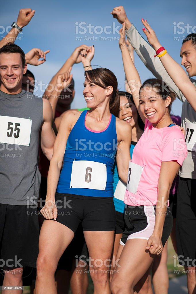Cheering Together at the Finish Line stock photo