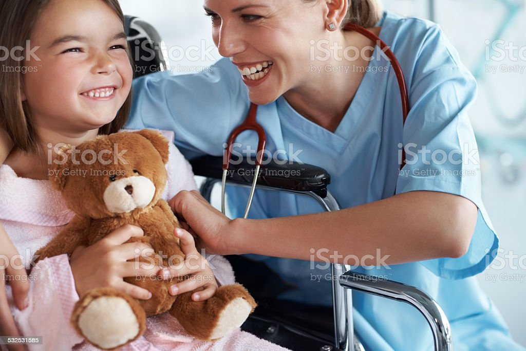 Cheering up a patient stock photo