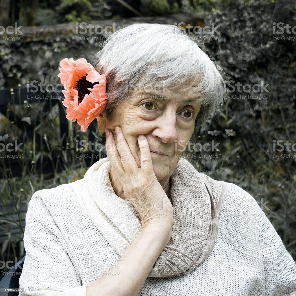 Cheering Up Grandma. royalty-free stock photo