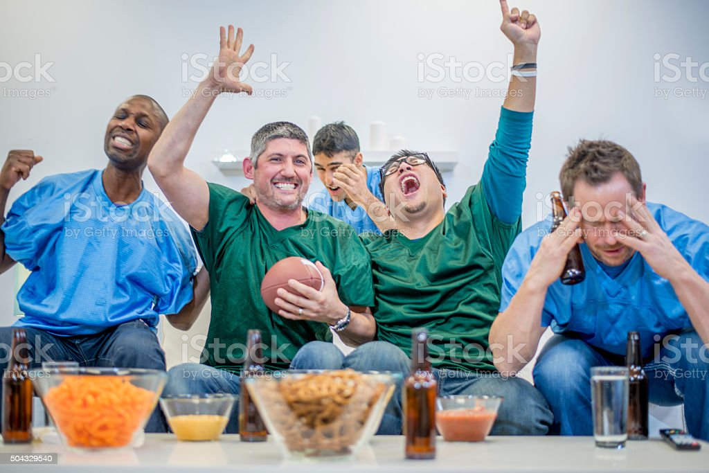 Cheering While Watching the Game stock photo