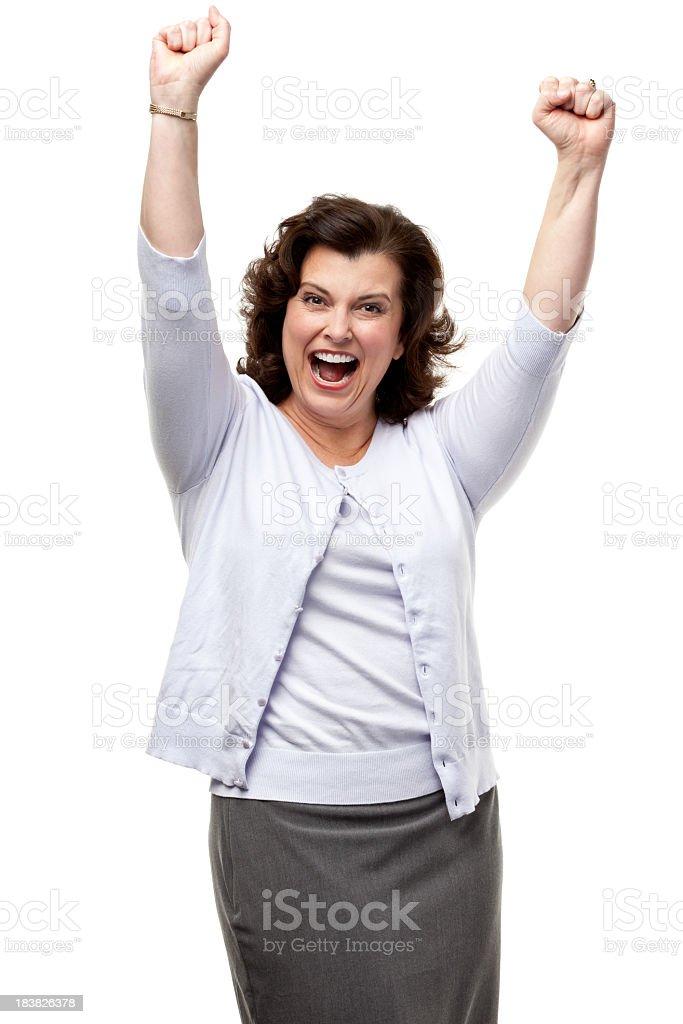 Cheering Woman stock photo