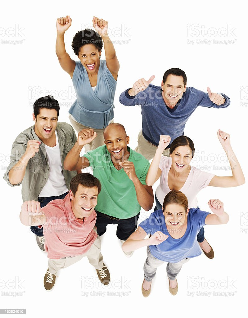 Cheering Young Adults - Isolated royalty-free stock photo