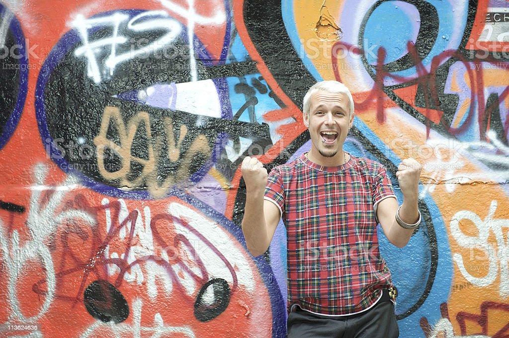 Cheering young man royalty-free stock photo