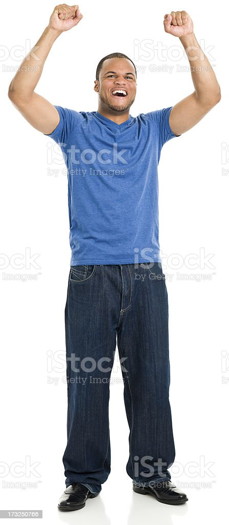 Cheering Young Man Standing stock photo