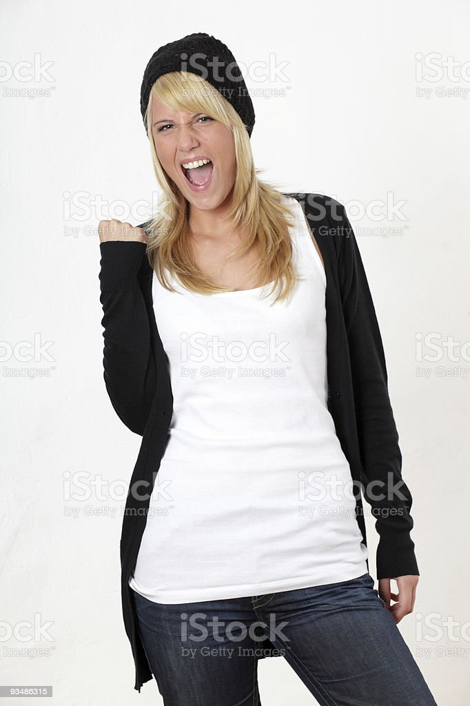 Cheering Young woman royalty-free stock photo