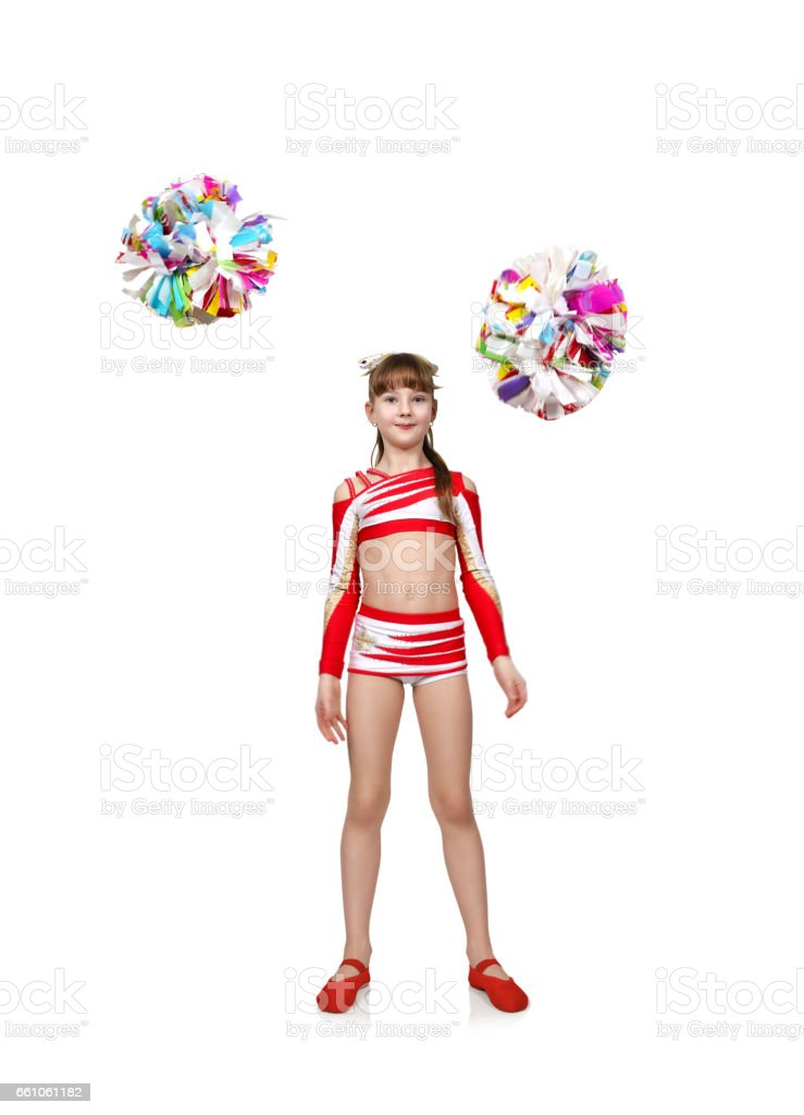 cheerleader girl throws pompons stock photo
