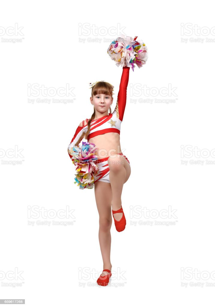 cheerleader girl with pompoms dances stock photo